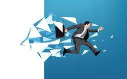 Biznesmena łamanie przez ściany ilustracji