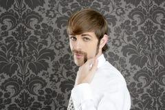 biznesmena śmieszny gesta ręki wąsy retro Zdjęcia Royalty Free
