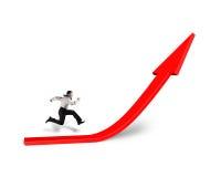 Biznesmena bieg na narastającej czerwonej strzała w bielu Obrazy Stock