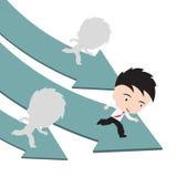 Biznesmena bieg na zielonej strzałkowatej drodze rywalizaci i lidera pojęcie, przedstawiający w formie ilustracji