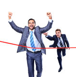 Biznesmena bieg przez wykończeniowej linii Zdjęcie Royalty Free