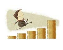 Biznesmena bieg w prętowego wykresu monecie Obrazy Royalty Free