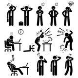 Biznesmena Biznesowego mężczyzna stresu naciska miejsce pracy Cliparts Zdjęcia Stock