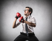 Biznesmena boks Zdjęcie Royalty Free
