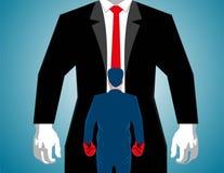 Biznesmena boks przeciw dużemu mężczyzna ilustracja wektor