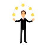 Biznesmena charakter żongluje z złocistymi dolarowymi monetami, pomyślna finansista ilustracja royalty ilustracja