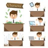 Biznesmena charakter na biuro ustalonym wektorze Zdjęcia Royalty Free