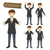 Biznesmena charakter - ustalona wektorowa ilustracja Fotografia Royalty Free