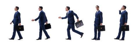 Biznesmena chodzący trwanie boczny widok odizolowywający na białym tle zdjęcia royalty free