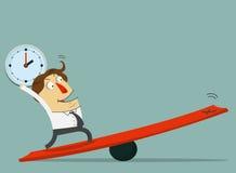 Biznesmena chwyt stojak na dźwigni i zegar Sposób sukces z jego czasem Fotografia Stock