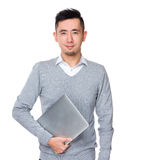 Biznesmena chwyt z laptopem Obraz Royalty Free
