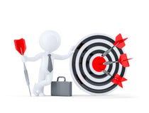 Biznesmena chwyta duży łuczniczy cel. Fotografia Stock
