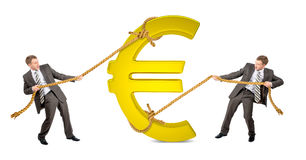 Biznesmena ciągnięcia euro znak przeciw innemu mężczyzna obrazy royalty free