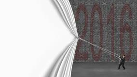 Biznesmena ciągnięcia puszka biała zasłona zakrywa starych 2016 ceglanych w Zdjęcia Stock