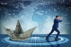 Biznesmena ciągnięcia łódź robić od dolarowego banknotu Obraz Stock