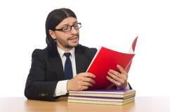 Biznesmena czytanie odizolowywający na bielu Zdjęcia Royalty Free