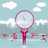 Biznesmena dźwignięcia ogromny zegar, drużynowy pojęcie ilustracja wektor