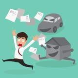 Biznesmena długu samochodu wylotowy dom i rachunek Obrazy Stock
