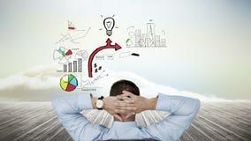 Biznesmena dopatrywania biznesowy brainstorm pojawiać się zbiory