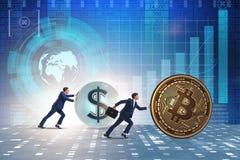 Biznesmena dosunięcia bitcoin w cryptocurrency blockchain pojęciu Obrazy Royalty Free