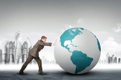 Biznesmena dosunięcia ziemi kula ziemska Fotografia Stock