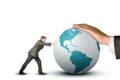Biznesmena dosunięcia ziemi kula ziemska Zdjęcie Stock