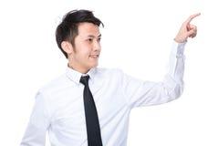 Biznesmena dotyk na imaginacyjnym panelu Obraz Stock