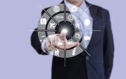 Biznesmena dotyka Holograficzna inteligencja Fotografia Royalty Free