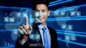 Biznesmena dotyka ikona Zdjęcia Stock
