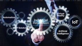Biznesmena dotyka przekładnia z słowem kluczowym, automatyzacja, IT rozwiązanie, rzeczywistość wirtualna, 'rewolucja przemysłowa' ilustracja wektor