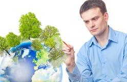 biznesmena drzewo rysunku ziemi drzewo Obrazy Stock