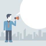 Biznesmena głośnika promocyjnego pojęcia komiczny płaski szablon ilustracji
