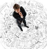 Biznesmena główkowania projekty Obraz Stock
