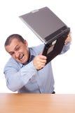 biznesmena gniewny laptop Zdjęcia Royalty Free