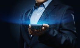 biznesmena guzika odciskanie Innowaci technologii interneta biznesu pojęcie Przestrzeń dla teksta Zdjęcie Royalty Free