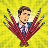 Biznesmena i atramentu fontanny pióra ikona royalty ilustracja