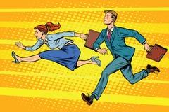 Biznesmena i bizneswomanu działająca rywalizacja Fotografia Stock
