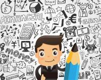 Biznesmena i doodle elementu biznesowy tło Fotografia Stock