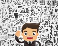 Biznesmena i doodle elementu biznesowy tło Obrazy Royalty Free