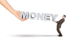 Biznesmena i ręki mienia słowa pieniądze obraz stock