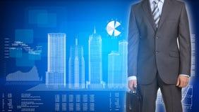 Biznesmena i ramy budynki na samolocie obraz stock