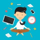 Biznesmena joga mediacja relaks w niebie Fotografia Stock