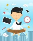 Biznesmena joga medytuje płaską ilustrację Obraz Royalty Free