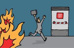 Biznesmena kłoszenie dla wyjścia ewakuacyjnego Zdjęcie Stock