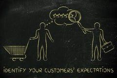 Biznesmena klienta czytelniczy umysł z tekstem, Utożsamia twój custo Zdjęcia Stock