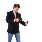 biznesmena komórka marszczyć brwi telefon fotografia royalty free