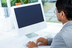 biznesmena komputer jego używać Zdjęcia Royalty Free