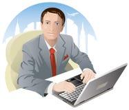 biznesmena komputeru działanie ilustracja wektor