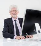 biznesmena komputeru senior Fotografia Stock