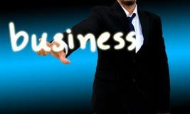 Biznesmena kontakt biznesowy guzik zdjęcia stock